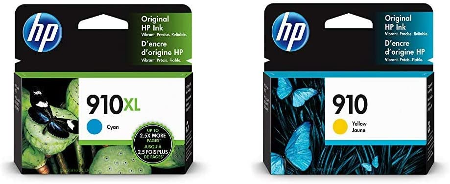HP 910XL | Ink Cartridge | Cyan | 3YL62AN & 910 | Ink Cartridge | Yellow | 3YL60AN