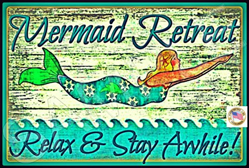Mermaid-Sign-MADE-IN-USA-8x12-All-Weather-Metal-Margaritaville-Beach-Tropical-Decor-Welcome