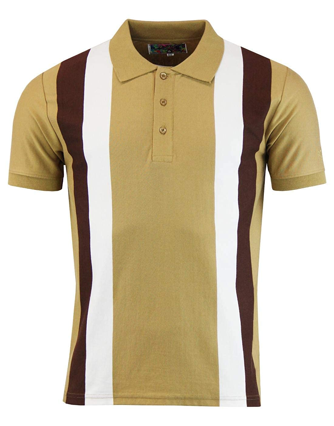 Vintage Shirts – Mens – Retro Shirts Madcap England Moody Mens 60s Mod Stripe Panel Polo in Caramel £29.99 AT vintagedancer.com