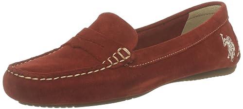 US Polo Assn Burgy 1 Burgy 1_Rouge (Red) - Mocasines de terciopelo para mujer, color rojo, talla 37: Amazon.es: Zapatos y complementos