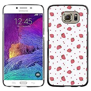 LECELL--Funda protectora / Cubierta / Piel For Samsung Galaxy S6 SM-G920 -- Strawberries Pink Red Wallpaper Art --