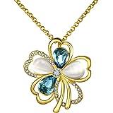 18K Plaqué or jaune bleu cristaux Swarovski Collier avec pendentif opale