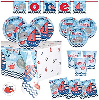 Nautical First Birthday Party Supplies Set Featuring Whales Sailboats