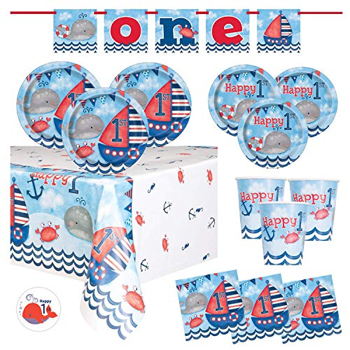 Nautical First Birthday Party Supplies Set Featuring Whales, Sailboats - Banner Decoration, Plates, Cups, Napkins, Tablecover, Sticker (Deluxe - Serves 16) -