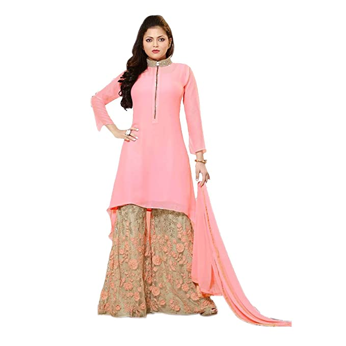 Aryan Fashion Pink Georgette Plazo Suit Color Latest Indian
