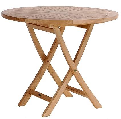 Fantastic Amazon Com Chic Teak Elzas Folding Table 36 Round Made Download Free Architecture Designs Lectubocepmadebymaigaardcom