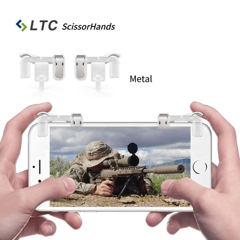 LTC ScissorHands Trigger M2 per gioco mobile, bottoni in metallo, scatti sensibili e mira come L1R1 di joystick per giochi mobili per PUBG, adatto per smartphone Android o IOS-Trasparente