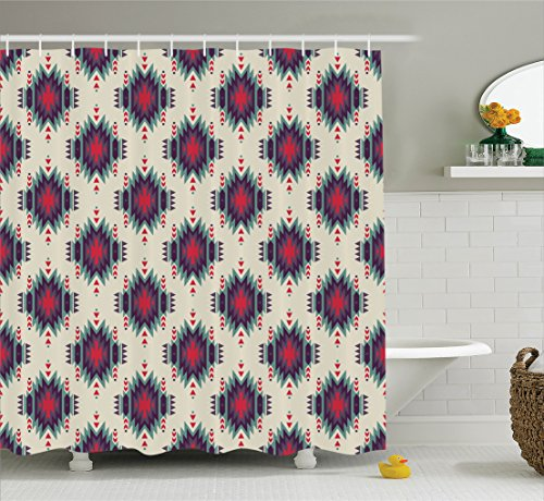 "Ambesonne Colorful Shower Curtain, Colorful Primitive Folkloric Motif Ornate First Nation, Cloth Fabric Bathroom Decor Set with Hooks, 84"" Extra Long, Pink Teal"