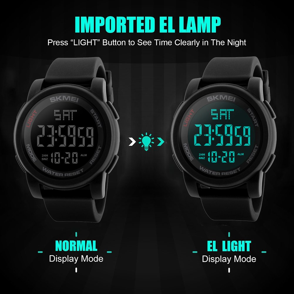 Amazon.com: SKMEI Simple Digital Mens Military Watches Waterproof Electronic LED Double Time Black Wristwatch Sport: Watches