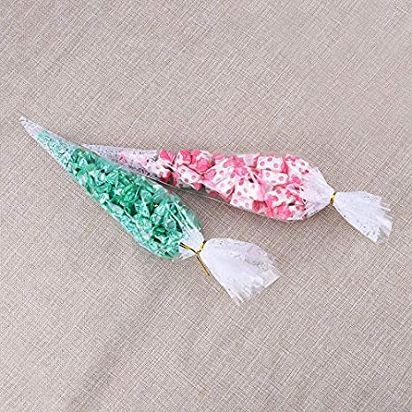 Malayas 100PCS Bolsas de Cono Transparentes Bolsas de Celofán para Dulces Caramelos Galletas Regalos Boda Fiestas Cumpleaños Incluye Lazos 38×19 cm