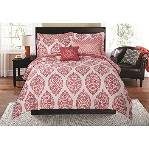 Mainstays Damask Global Coral Bed in a Bag TWIN/XL