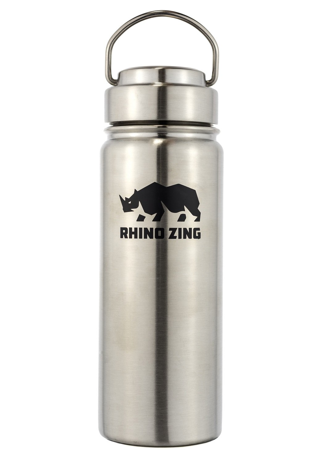 Rhino Zing 18-Ounce Beer Growler Stainless Steel Water Bottle with Stainless Steel Lid. Insulated, Wide Mouth