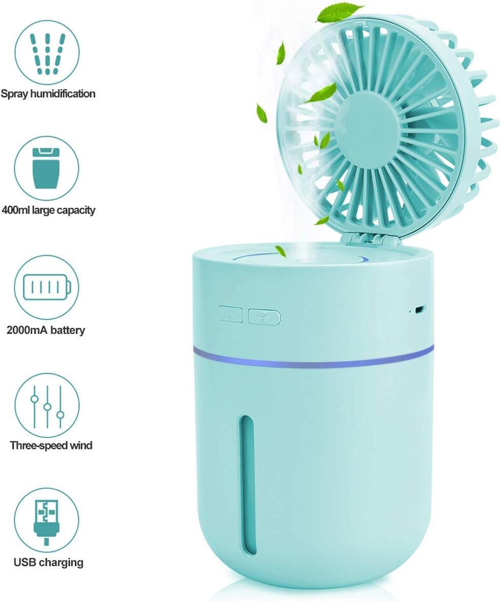 Ventilador de nebulización, Humidificador, Ventilador de mesa personal Portátil, Ventilador a batería Humectador con rociador de agua, Ventilador de escritorio USB Ventilador pequeño y silencioso