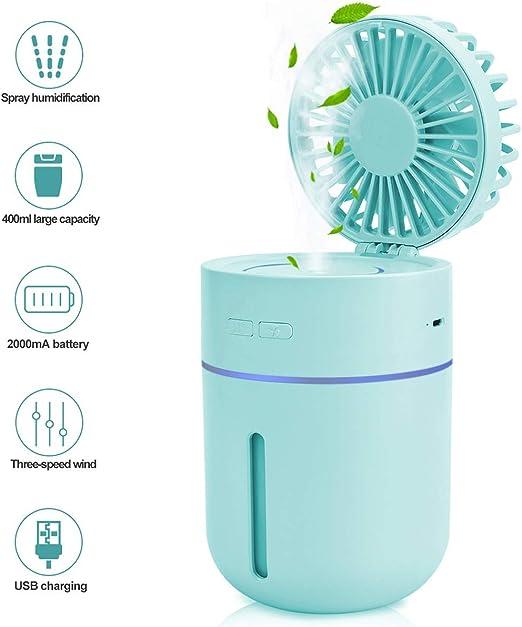 Ventilador de nebulización, Humidificador, Ventilador de mesa personal Portátil, Ventilador a batería Humectador con rociador de agua, Ventilador de escritorio USB Ventilador pequeño y silencioso: Amazon.es: Hogar