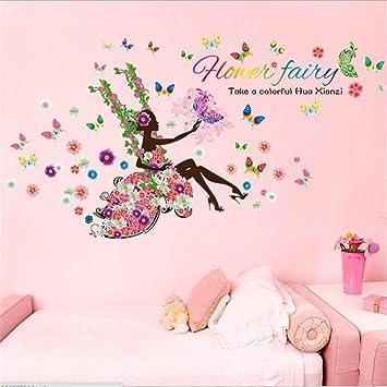 Fairy Wall Stickers Swing Elf Girl Princess Wall Decals Butterfly Flowers  Dancing Girls Angel Wings Wall