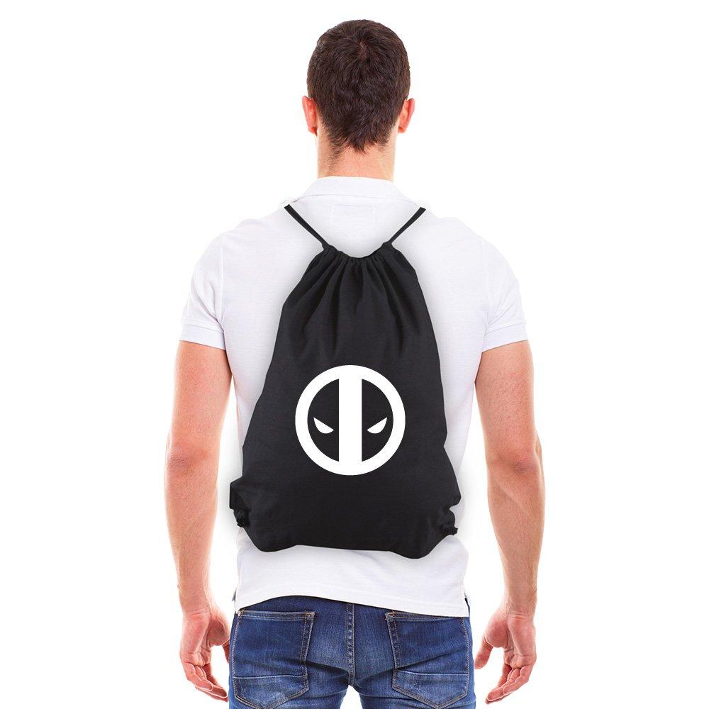 Deadpool Logo Eco-Friendly Reusable Cotton Canvas Draw String Bag Black & White