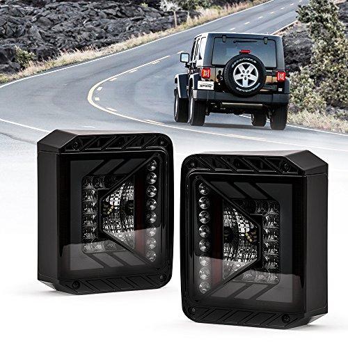Xprite Rival Series LED Tail Lights for Jeep Wrangler JK JKU 2007-2018 w/Smoke Lens Brake Taillights Parking Light Reverse lamps - (DOT APPROVED)