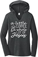 Comical Shirt Ladies A Little Coffee Lot Jesus Cute Christian Gift Hoodie Shirt