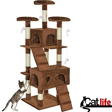 Bakaji Tiragraffi para gatos Árbol Sisal Parque Juegos Cuccia Gato Lamina Arañazos