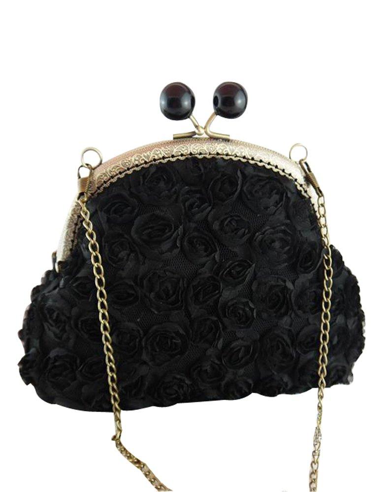 Musebridal Women's Stereo Rose Cloths Evening Cocktail Clutch Bag (black)