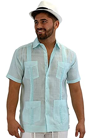 79fd239b270f0 bohio Men s 100% Linen Guayabera Classic   Traditional 4-Pocket Short  Sleeve Shirt in