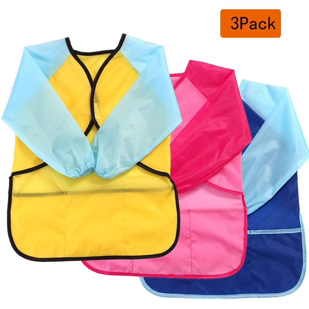Tenlife 3 pcs Kids Art Smocks Waterproof Children's Aprons Artist Painting Smocks with Long Sleeve 3 Pockets for Age 2-8 Years(Yellow, red, blue)