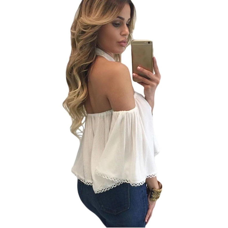 NOMENI Women Sexy Off Shoulder Long Sleeve T Shirt Casual Loose Tops Blouse