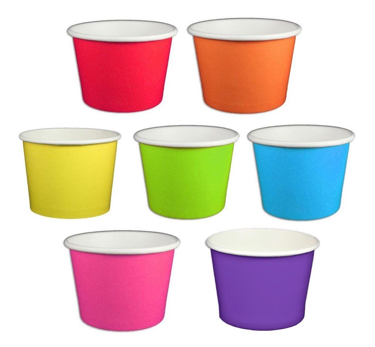 Beach Party Polka Dot Ice Cream Cups (12 ounce, Solid Rainbow Mix)