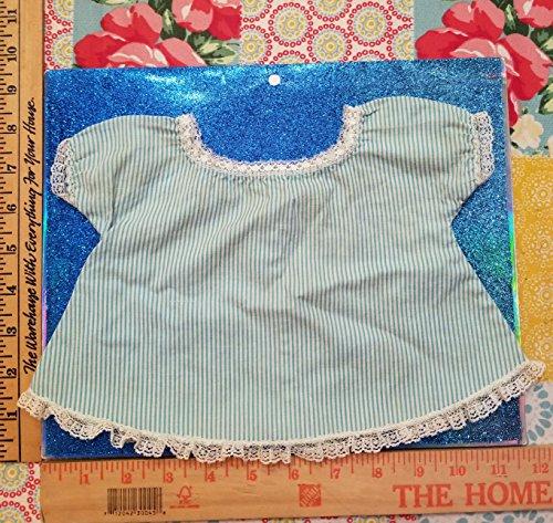 BABY DOLL FASHION 003_Vintage White Lace & Teal Stripes Cotton Dress/Shirt