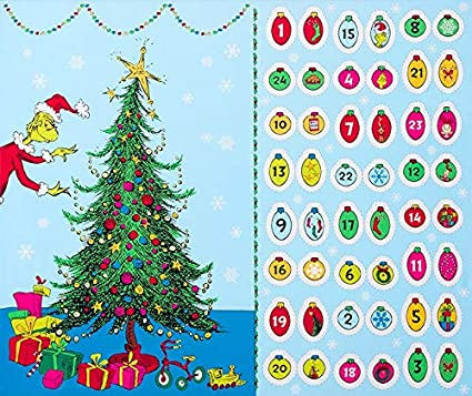 "Grinch Christmas Tree Advent Fabric Panel 36""x44"" from How The  Grinch Stole Christmas - Amazon.com: Grinch Christmas Tree Advent Fabric Panel 36"