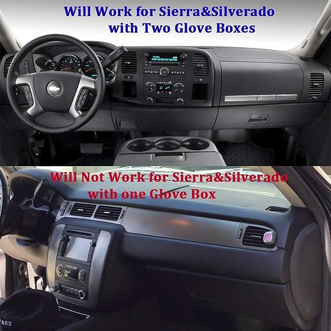 Premium Carpet, Black Wont Break Dash Sensors HanLanKa Dashboard Cover for GMC Sierra and Chevrolet Silverado- Fits 2007-2013 Models with Two Glove Boxes Custom Fit Dash Mat