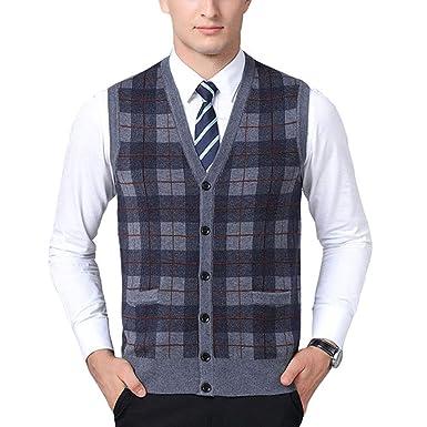 faf7c52685250 Mixsense Mens Cool Colorful Wool V-Neck Sleeveless Argyle Cardigan Sweater  Vest (S
