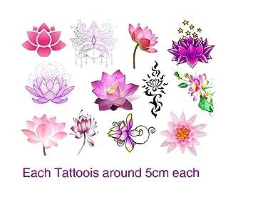 c716b47ae Amazon.com : Lotus flower Collection (Lotus flower Temporary tattoos) :  Beauty