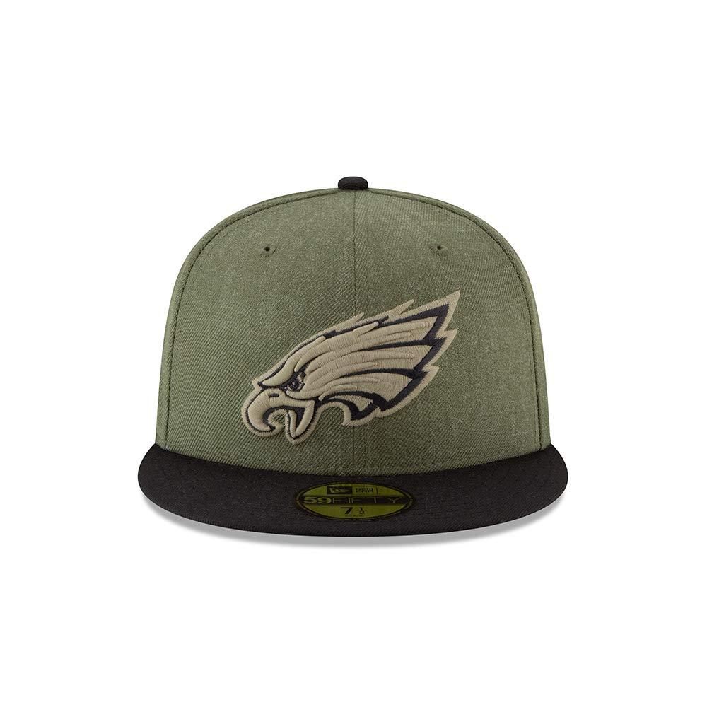 7d08130cb9b New Era Philadelphia Eagles On Field 18 Salute to Service Cap 59fifty 5950  Fitted Limited Edition  Amazon.co.uk  Clothing