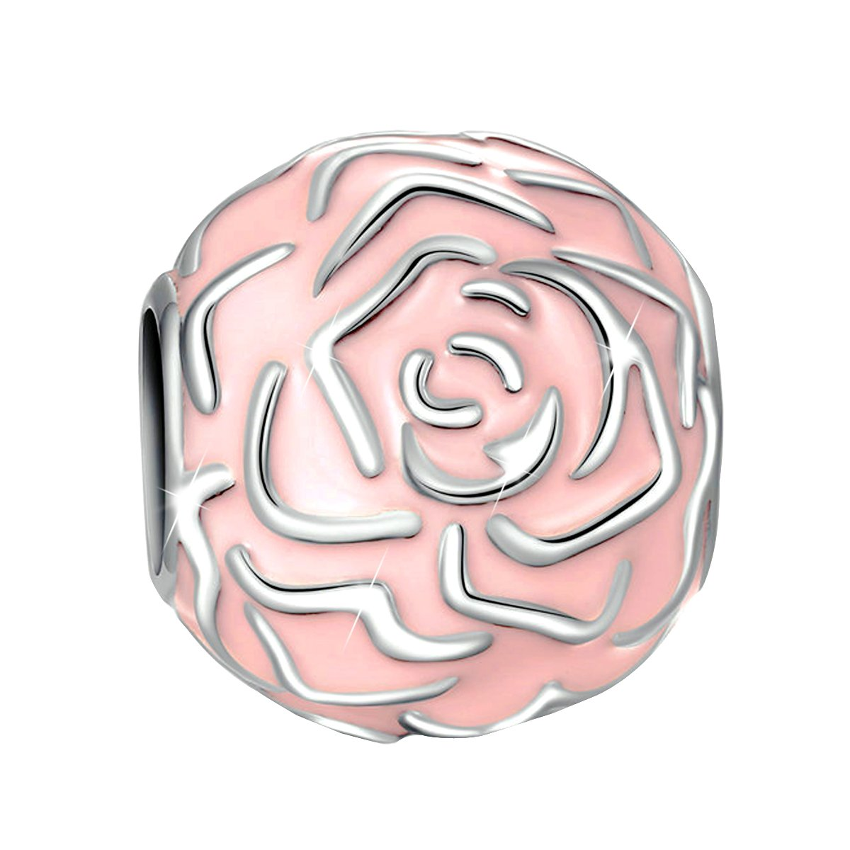 Syangpang 925 sterling silver charm forever fit for bracelet necklace jewelry rose enamel design bead
