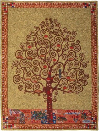 Klimt's Tree Of Life Belgian Tapestry by Charlotte Home Furnishings Inc.