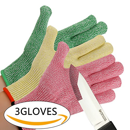 CHYDA 3 Pack Cut Resistant Gloves High Performance Level 5 Protection Food Grade Certified Kitchen and Work Safety Lightweight Breathable (Large, 3-Color)