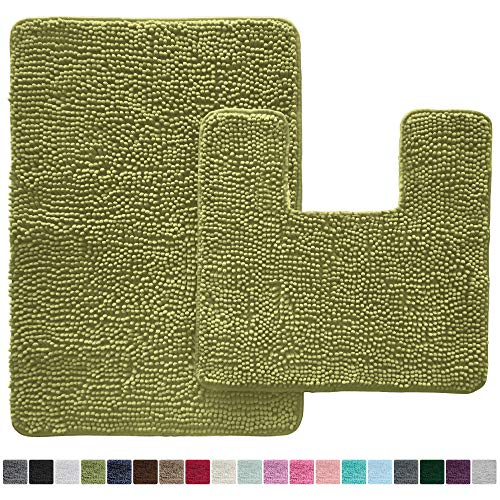 Gorilla Grip Original Shaggy Chenille 2 Piece Bath Rug Set, 19x19 Square U-Shape Contoured Toilet Mat & 30x20 Carpet Rug, Machine Wash/Dry Mats, Soft, Plush Rugs for Tub Shower & Bathroom (Green)