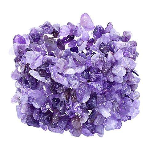 Gem Stone King Gorgeous Purple Amethyst Stone Chips Multi Strands Stretch Bangle Bracelet