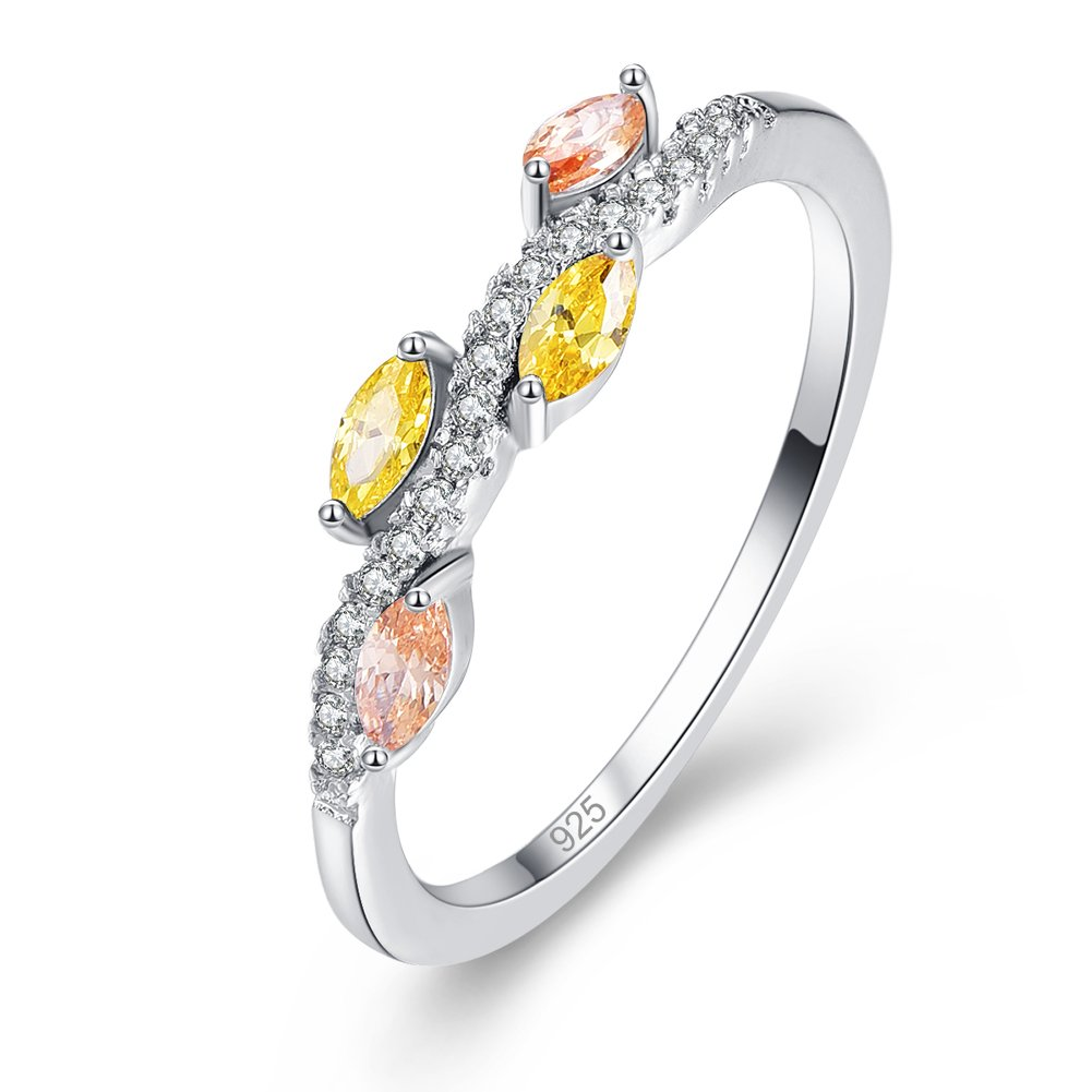 Psiroy 925 Sterling Silver Created Citrine Filled Stacking Eternity Wedding Ring Band Size 7