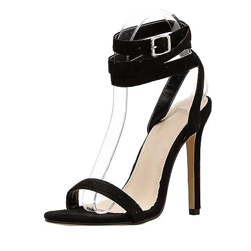 081ae1bc9e637 Scarpe col Tacco — Elegante Moda Vintage Sexy Tacchi Alti con Fibbia della  Cintura Sandali Estivi