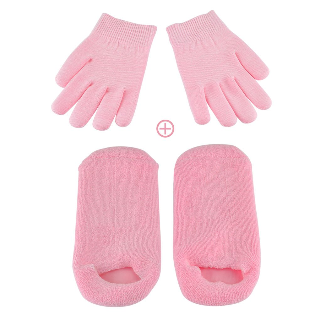 Moisturizing Gel Socks Gloves Set Hands Feet Skin Whitening Care Beauty Spa Treatment Hydrating Cool Soft Cotton Heel Booties Socks for Dry Hard Cracked Skin Pink BLUETOP