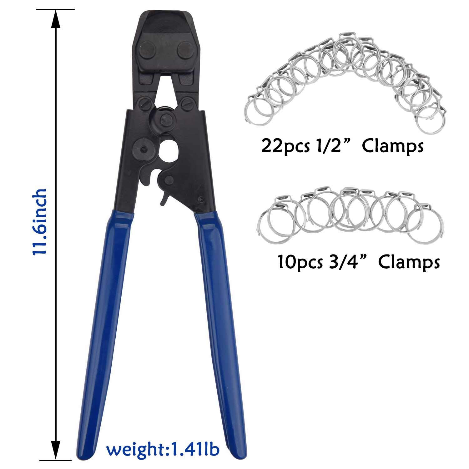 DUSICHIN DUS-501 PEX Crimping Tools Cinch Clamp Tools for Fastening Stainless Clamps Sizes from 3/8 Inch - 1 inch with 1/2'' 22PCS and 3/4'' 10PCS SS PEX Clamps