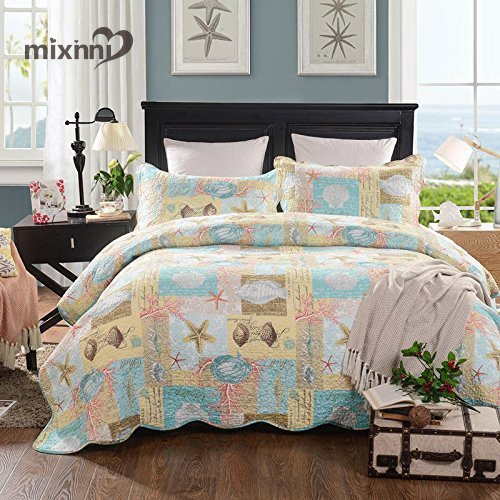 mixinni seashell beach bedding quilt set beach theme bedspread sets king with shams shell print pattern ocean 100 cotton reversible patchwork coverlet