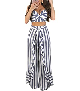 4fe98bbb252c5 YIFAN DREAM Women 2 Piece Set Striped Spaghetti Strap Crop Top + Long Trousers  Jumpsuit…