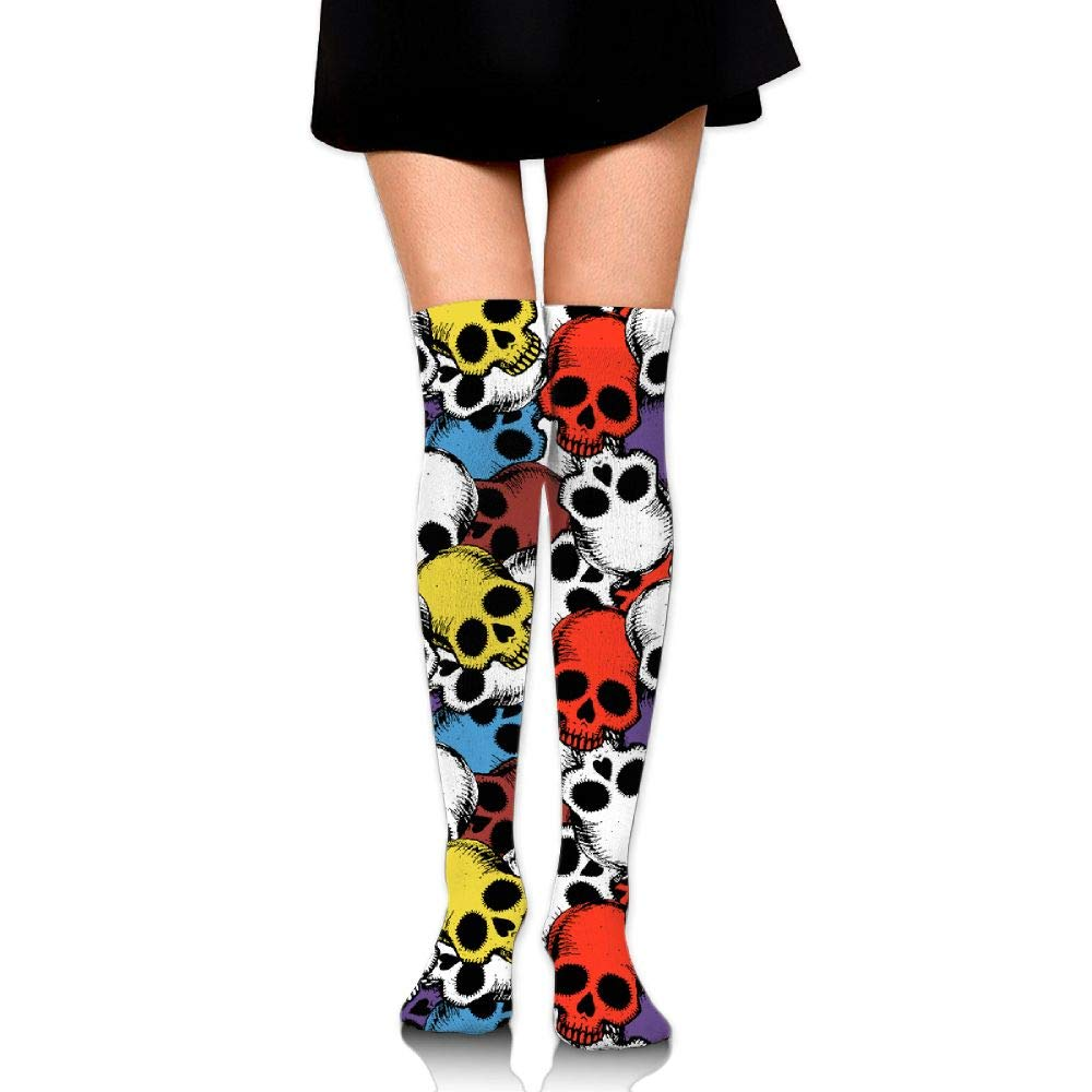 Womens//Girls Colorful Hand Drawn Skulls Pattern Casual Socks Yoga Socks Over The Knee High Socks 23.6