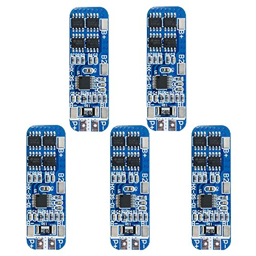 Diymore 5pcs 3S BMS Module 12V 10A 18650 BMS Charger Module Li-ion Lithium Battery Protection ()