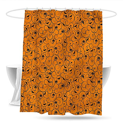 Sweet decoration Shower Curtain with Hooks Halloween Swirls Bats and Pumpkins Bathroom Curtain Washable Polyester -