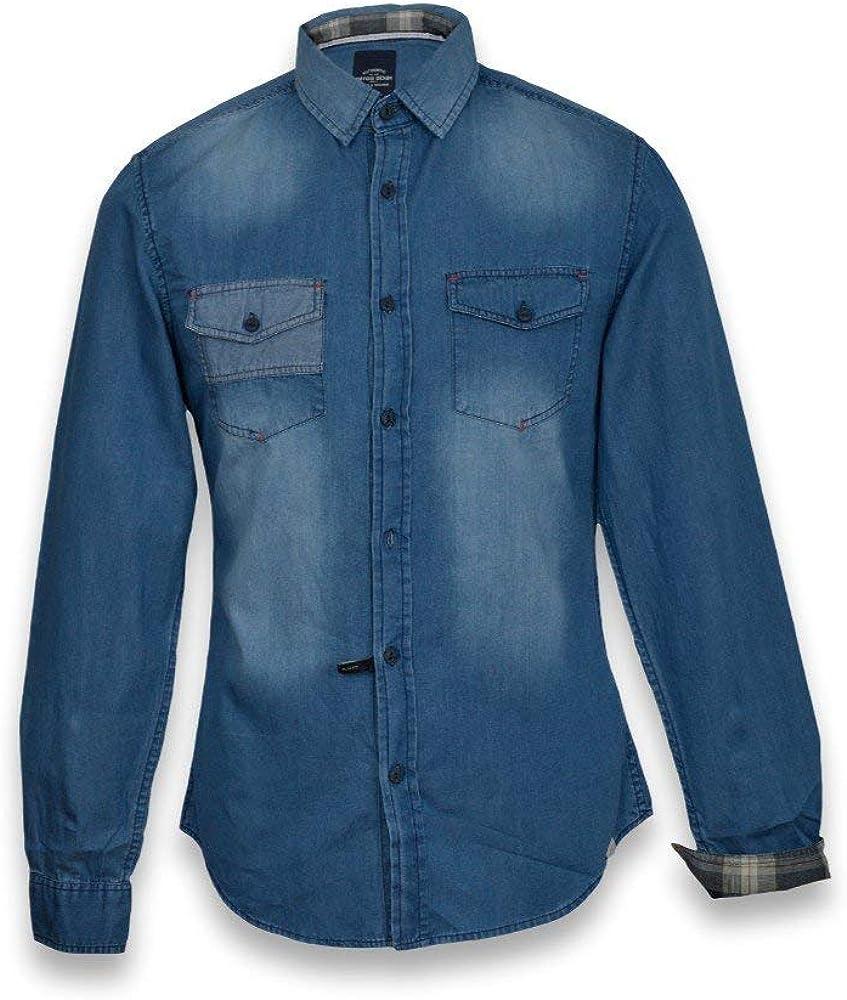 Tiffosi – Camisa para hombre – manga larga camisa hombre (Jean de color Stone Clair Azul azul: Amazon.es: Ropa y accesorios