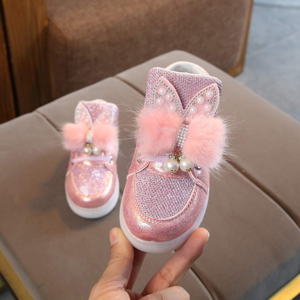 Tronet oddler Infant Kids Baby Girls Cartoon Rabbit LED Luminous Sport Shoes Sneakers Sneakers